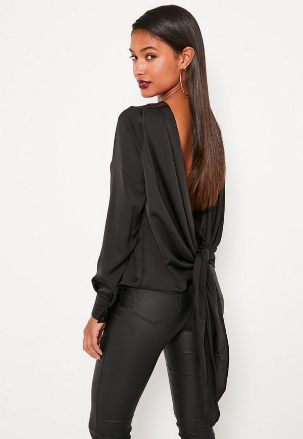 Black Long Sleeve Tie Back Blouse