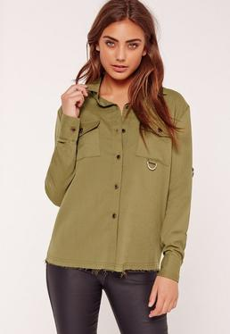 Metal Trim Pocket Front Shirt Khaki