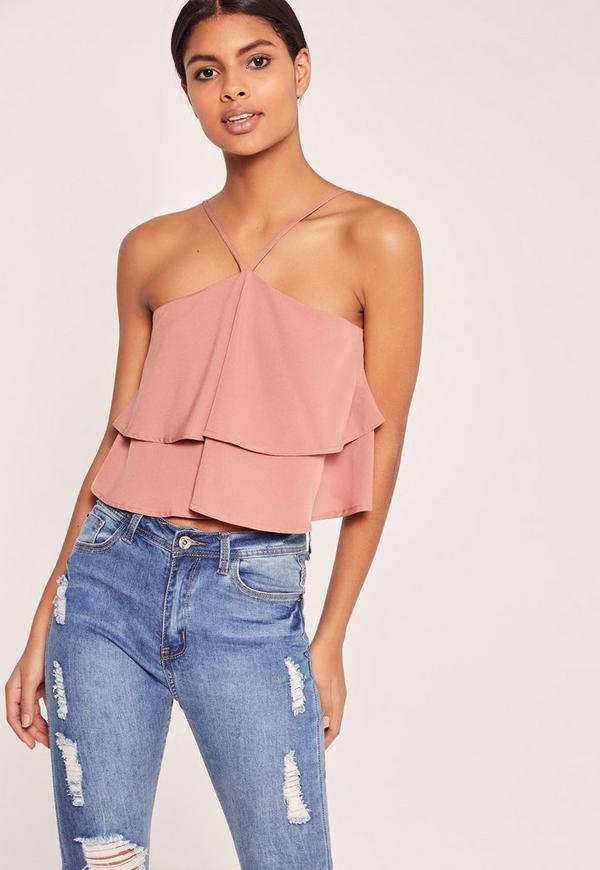 Double Frill 90's Neck Crop Rose