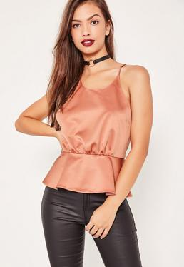 Pink Satin Cross Gather Back Cami Top