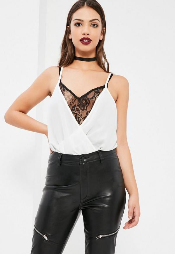 White Wrap Front Overlay With Black Lace Bodysuit