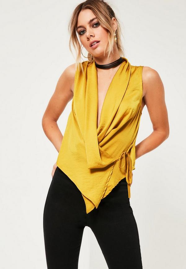 Yellow Hammered Satin Tie Side Top