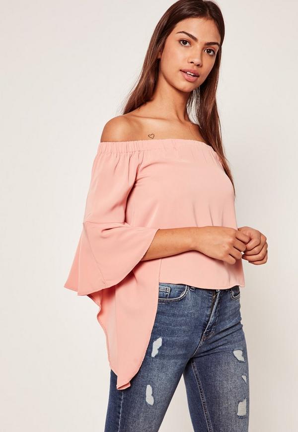 Flare Sleeve Bardot Blouse Pink