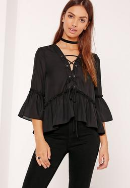 Lace Up Frill Hem Blouse Black