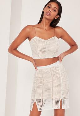 Crochet Crop Top Co-Ord White and Pink