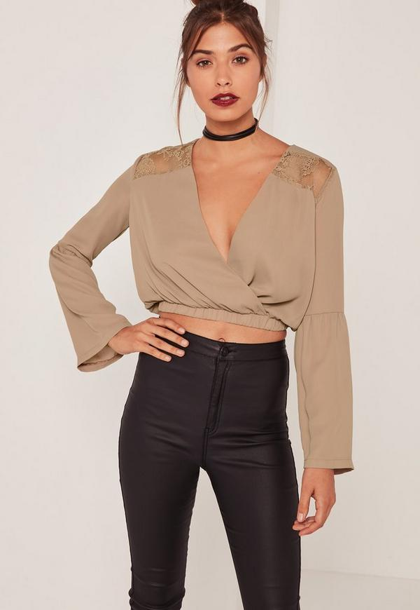 Nude Lace Insert Wrap Front Crop Top