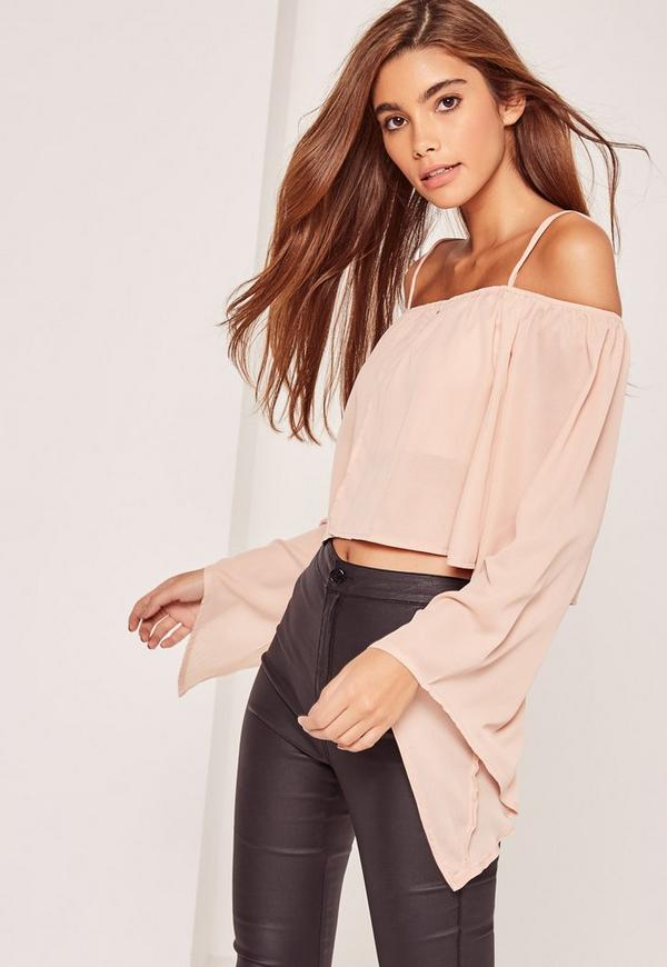 Nude Bardot Flared Sleeve Crop Top