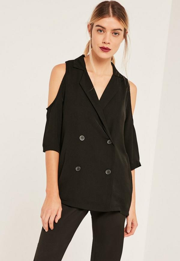 Black Blazer Cold Shoulder Blouse