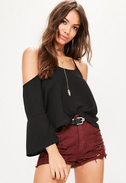 Black Cold Shoulder Flare Sleeve Blouse