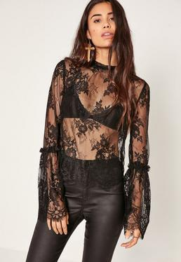 Black High Neck Lace Flare Sleeve Blouse
