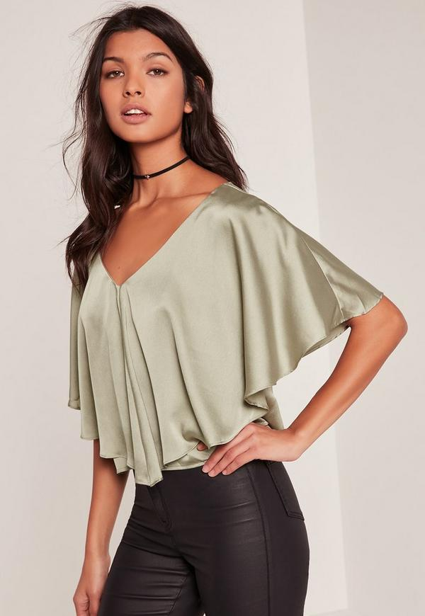 Green Satin Cape Blouse