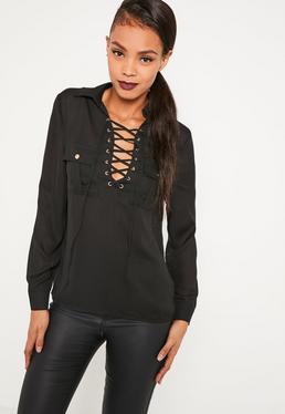 Black Lace Up Pocket Front Blouse