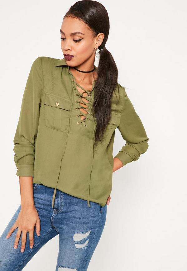 Khaki Lace Up Pocket Front Blouse  ebe829f63