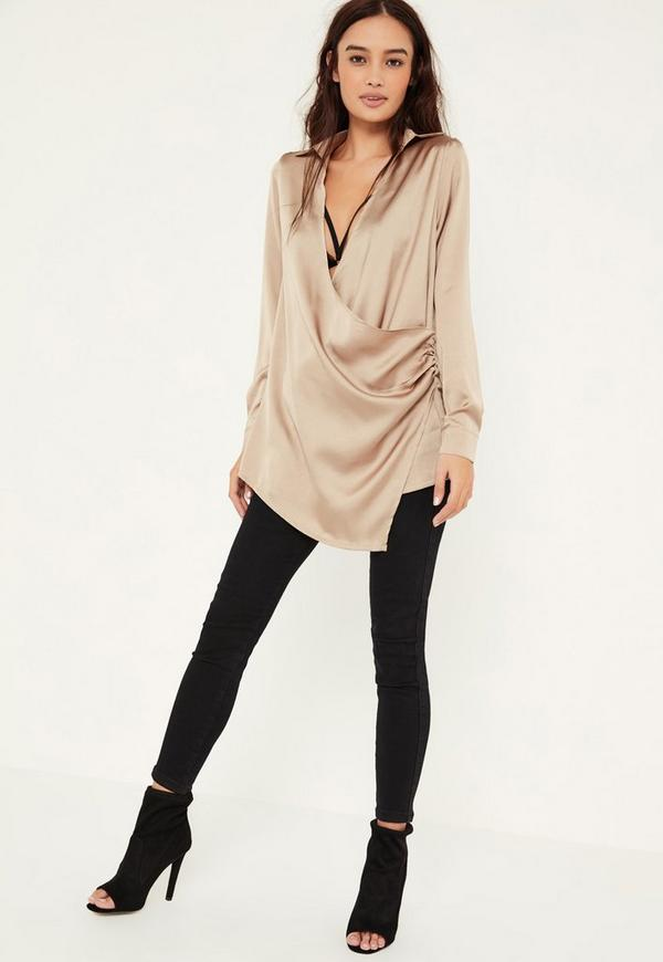 Wrap Satin Blouse 109