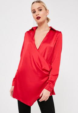 Red Wrap Satin Blouse