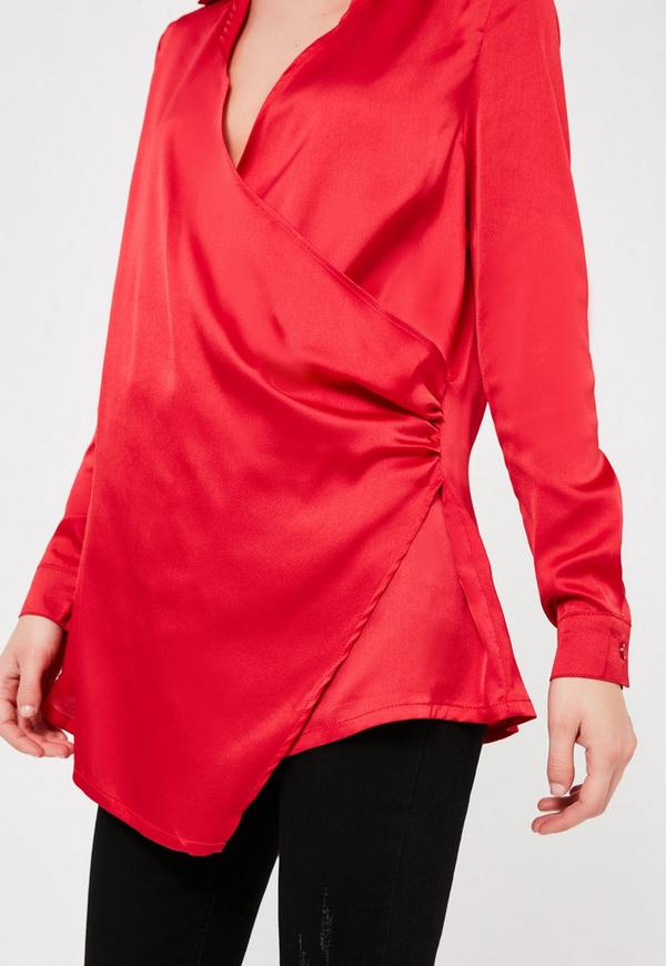 Wrap Satin Blouse 7