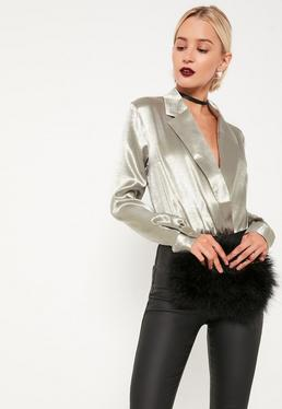 Grey Metallic Blazer Bodysuit
