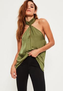 Green Hammered Satin Choker Halterneck Cami Top
