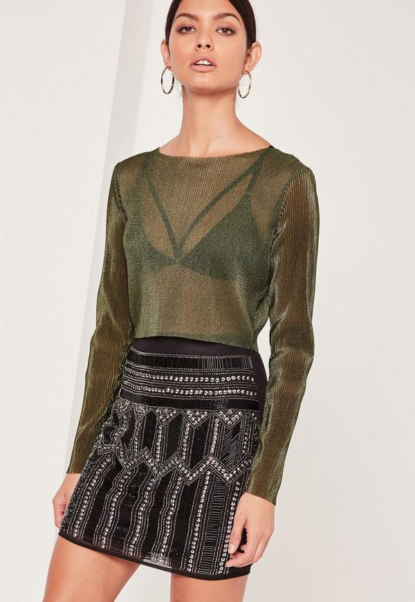Pleated Crop Top Khaki