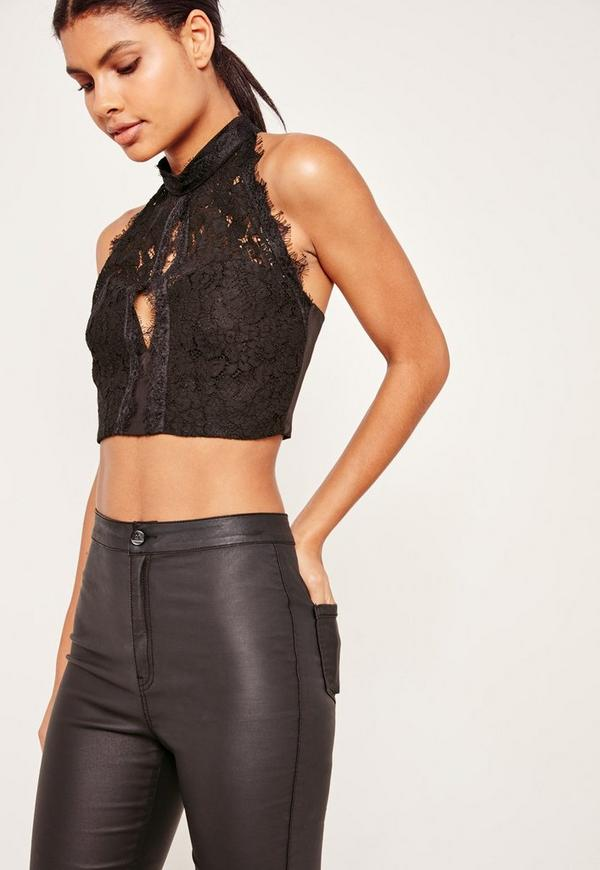 High Neck Lace Open Front Crop Black