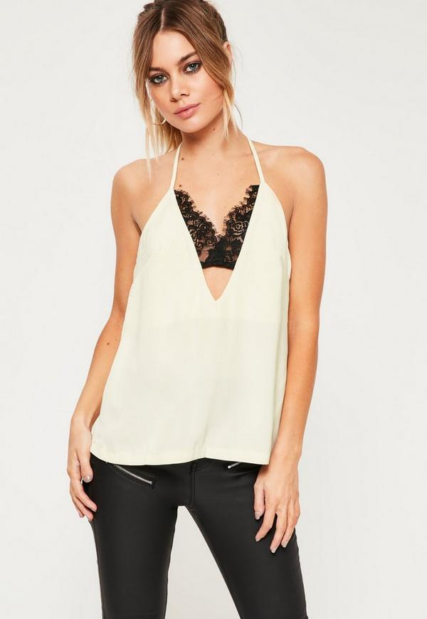 Insert Lace Strap Detail Cami Top Cream