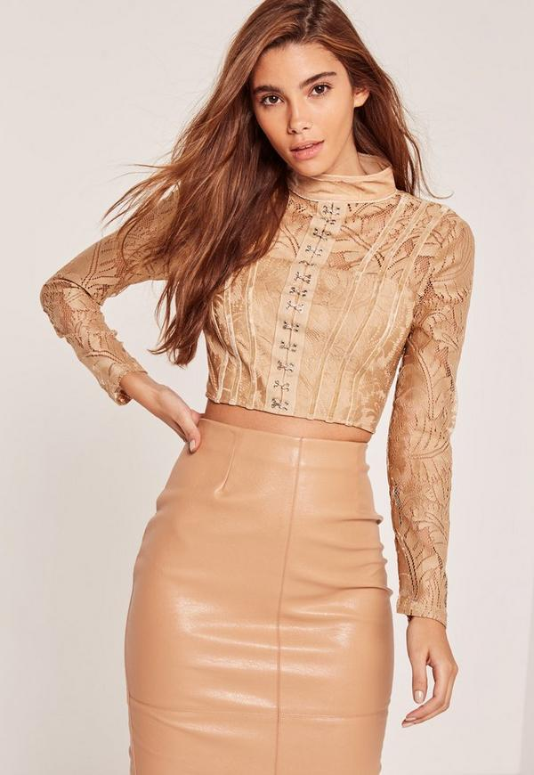 Nude High Neck Lace Eyelet Front Crop Top