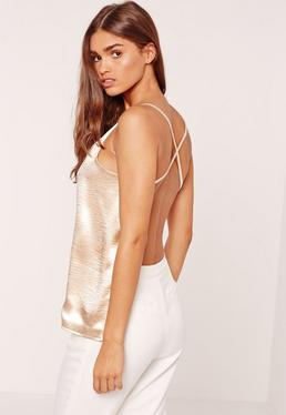 Open Back Cami Crushed Satin Gold