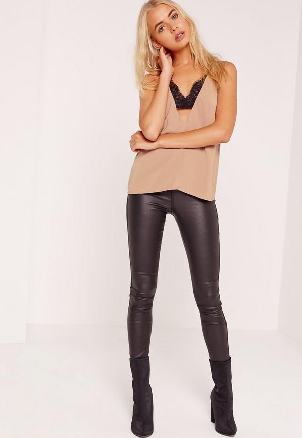 Insert Lace Strap Detail Cami Top Nude