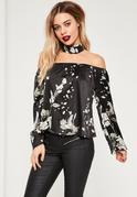 Black Floral Print Choker Neck Bardot Blouse
