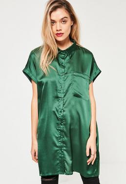 Green Oversized Satin Shirt