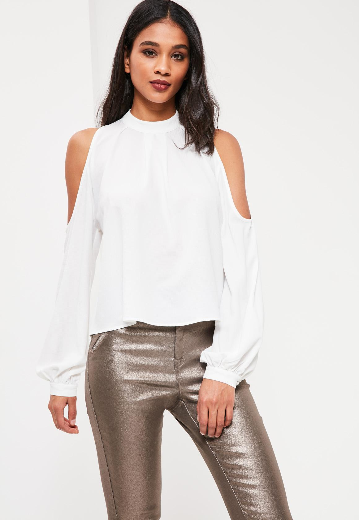 a0abce965 White Victorian High Neck Blouse