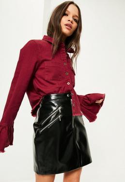 Burgundowa jeansowa koszula z ozdobnymi falbankami na rękawach