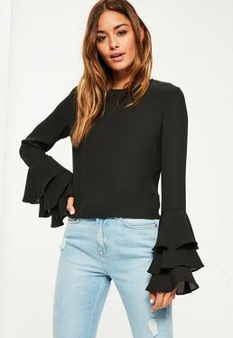 Black Chiffon Frill Sleeve Blouse