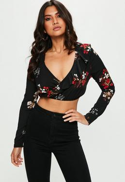 Black Floral Print Ruffle Wrap Cropped Top