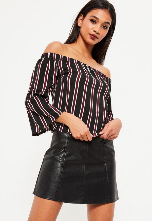 Black Striped Long Sleeve Bardot Top