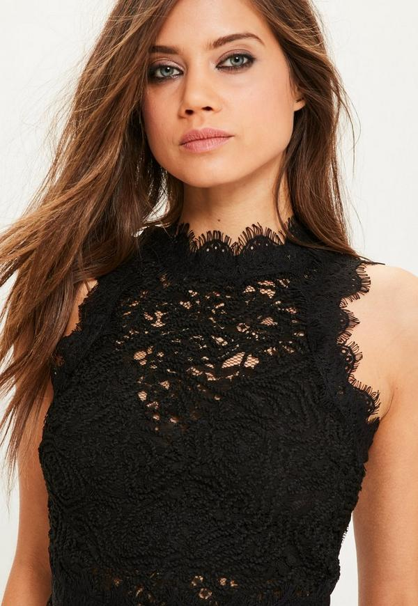 black cornelli lace sleeveless crop top missguided. Black Bedroom Furniture Sets. Home Design Ideas