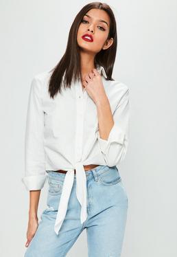 Kurzes Crop Hemd mit Bandschleife in Weiß