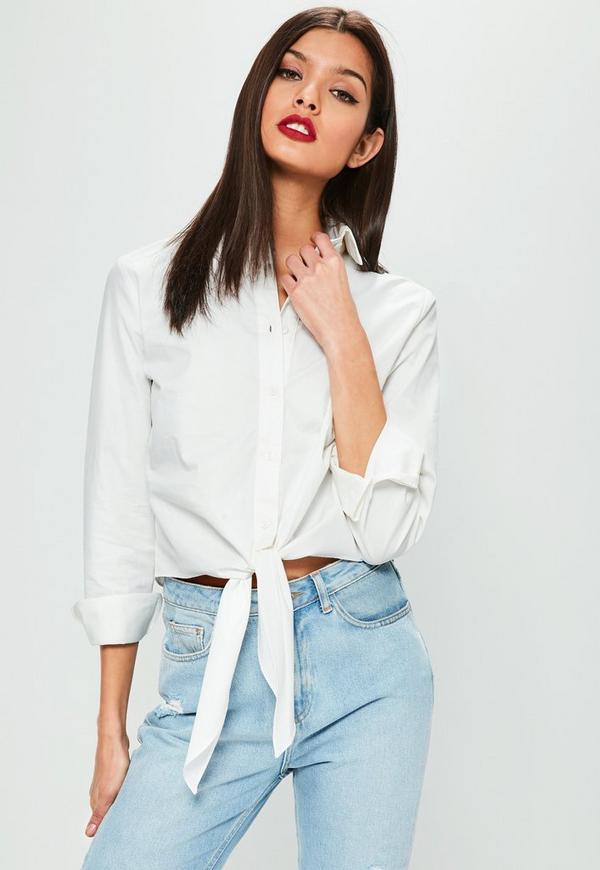 White Tie Hem Button Up Crop Top