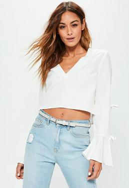 White Tie Sleeve Crop Top