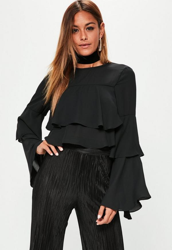 Black Layered Frill Crop Top