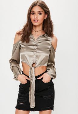 Grey Satin Cold Shoulder Tie Waist Crop Top