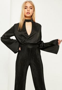 Black Choker Neck Plunge Flare Sleeve Bodysuit