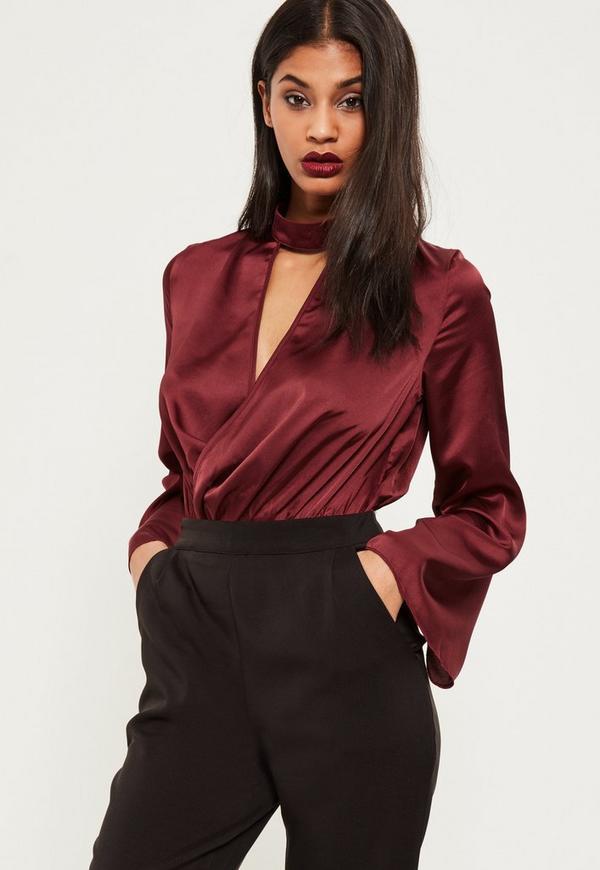 Burgundy Choker Neck Plunge Flare Sleeve Bodysuit