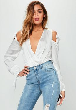 White Tie Shoulder Wrap Front Bodysuit