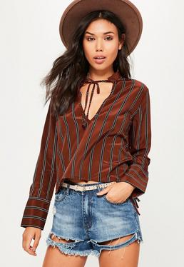 Brown Stripe Tie Neck Tie Cuff Blouse