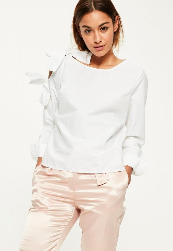 White Tie Shoulder Detail Long Sleeve Blouse