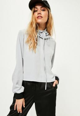 Grey Hammered Satin Cowl Neck Blouse