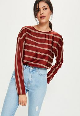 Burgundy Striped Crew Neck Blouse