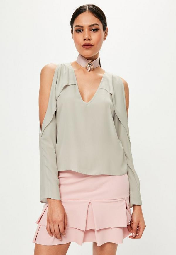 Grey V Neck Cold Shoulder Frill Blouse