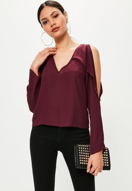 Burgundy V Neck Cold Shoulder Frill Blouse